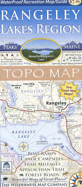 Map Of Maine Lakes.Rangeley Lakes Region Topo Map Books Maps The Mountain Wanderer