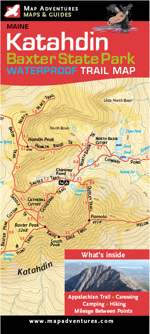 Katahdin/Baxter State Park Waterproof Trail Map Books & Maps - The ...