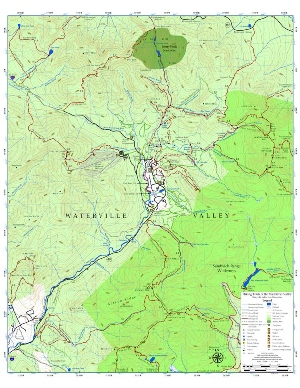 Hiking Trails in the Waterville Valley, NH on orienteering map, hiking tours, hiking trail, following a map, trail map, hunting map, space exploration map, hiking tracks, nature map, places to go map, hiking tips,